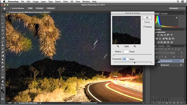 Reduce noise with the Dust & Scratches Filter: Enhancing Night and Low-Light Photos with Photoshop