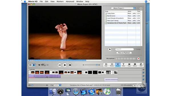 Applying a soundtrack: iMovie HD + iDVD 5 Essential Training