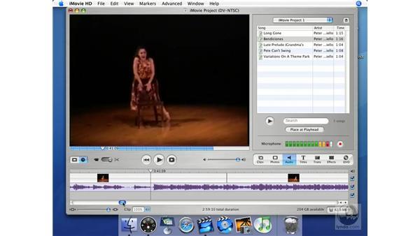 Analyzing audio waveforms: iMovie HD + iDVD 5 Essential Training