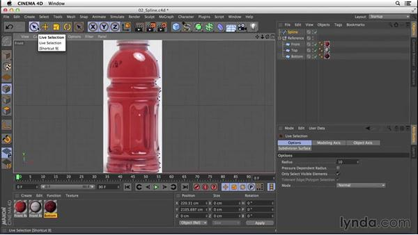 Creating the general shape with Bézier splines and the Lathe object: Digital Product Photography with CINEMA 4D