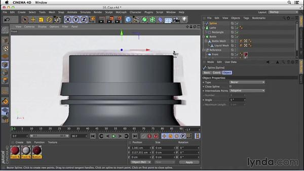 Using primitives to create the cap, collar, and label: Digital Product Photography with CINEMA 4D