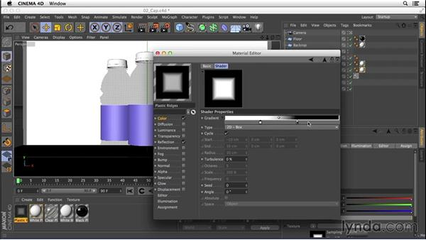 Creating the opaque plastic texture of the cap: Digital Product Photography with CINEMA 4D