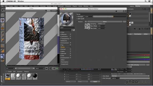 Creating the semi-transparent label texture from an image: Digital Product Photography with CINEMA 4D