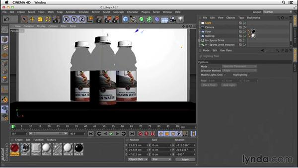 Adding a key light to place a highlight: Digital Product Photography with CINEMA 4D