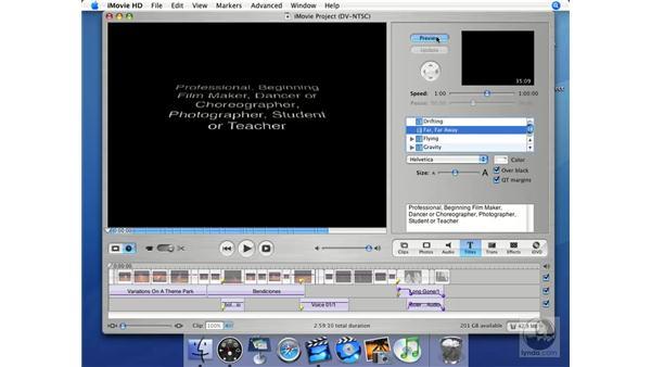 Text animation styles: iMovie HD + iDVD 5 Essential Training
