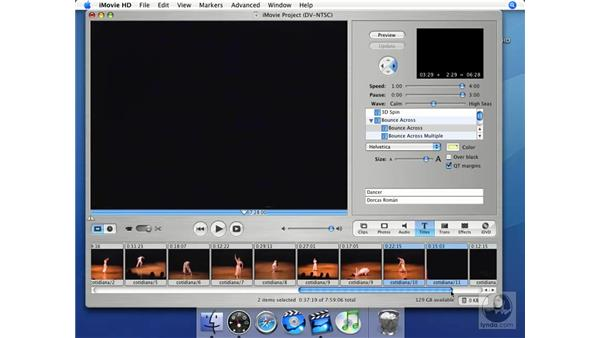 Splitting clips to insert titles: iMovie HD + iDVD 5 Essential Training