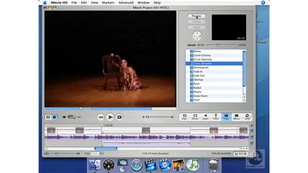 Tour of the transition styles: iMovie HD + iDVD 5 Essential Training