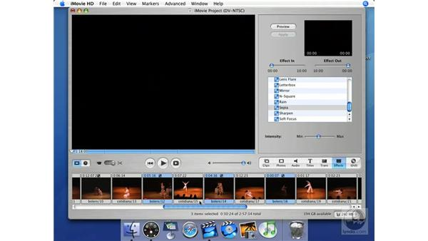 Tour of the stock effects: iMovie HD + iDVD 5 Essential Training