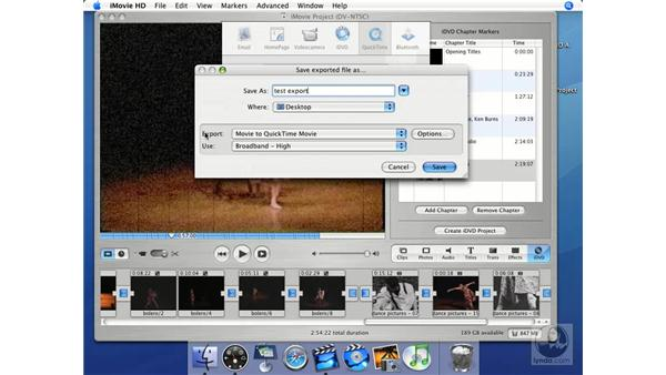 QuickTime movies: iMovie HD + iDVD 5 Essential Training