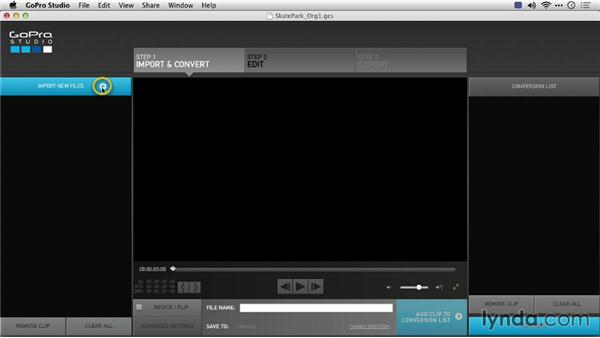 Creating a new project and importing source video files: Preparing GoPro Footage for Editing