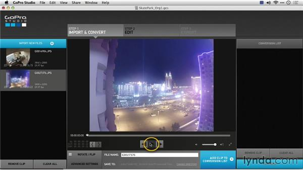 Previewing time-lapse sequences in the player window: Preparing GoPro Footage for Editing