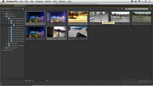 Importing footage into Premiere Pro: Preparing GoPro Footage for Editing