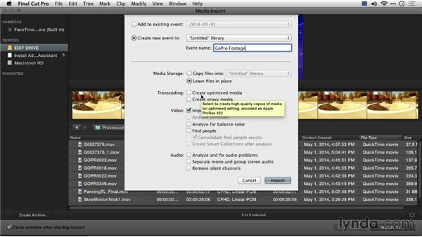 Importing footage into Final Cut Pro X: Preparing GoPro Footage for Editing