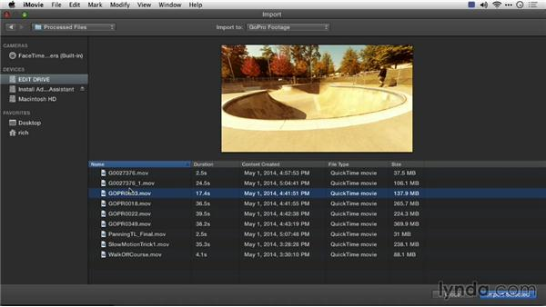 Importing footage into iMovie: Preparing GoPro Footage for Editing