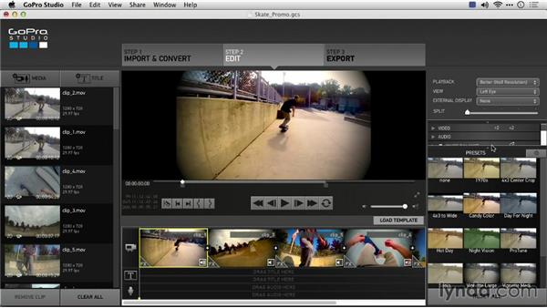 Applying effects and comparing with a split: Preparing GoPro Footage for Editing