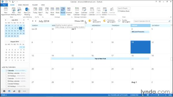 Viewing weather information in Calendar: Migrating from Office 2010 to Office 2013