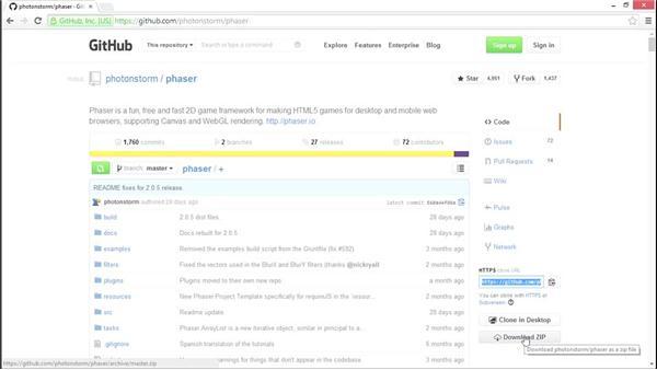 Downloading the Phaser framework: HTML5 Game Development with Phaser