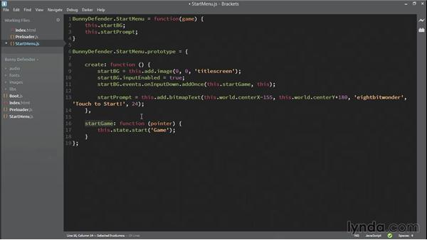 Building the menu state: HTML5 Game Development with Phaser