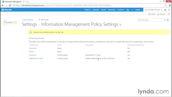 Applying in-place records management through a policy: Managing Records in SharePoint