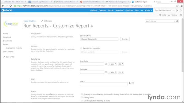 Audit actions on files and libraries: Managing Records in SharePoint