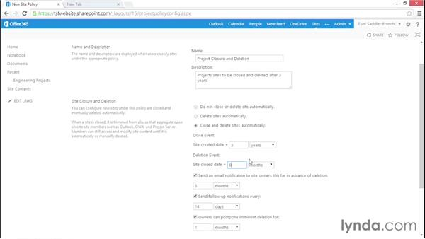 Create and work with site policies: Managing Records in SharePoint