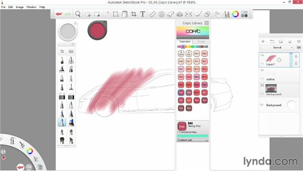 Utilizing the Copic library: SketchBook Pro 7 Essential Training