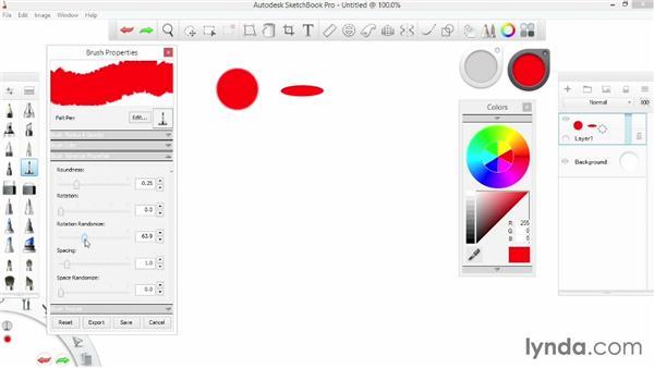 Modifying brush properties: SketchBook Pro 7 Essential Training
