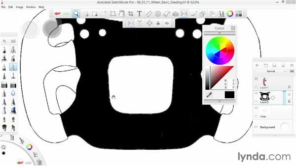 Shading an F1 wheel: SketchBook Pro 7 Essential Training