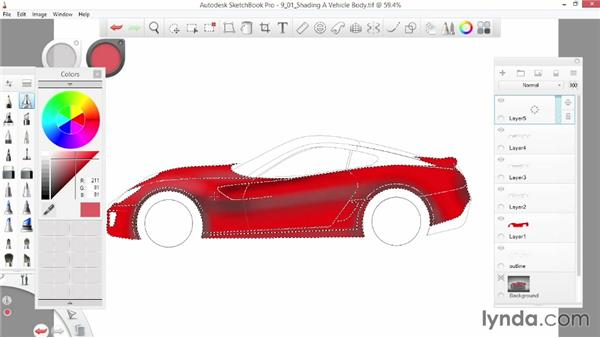 Shading a vehicle body: SketchBook Pro 7 Essential Training