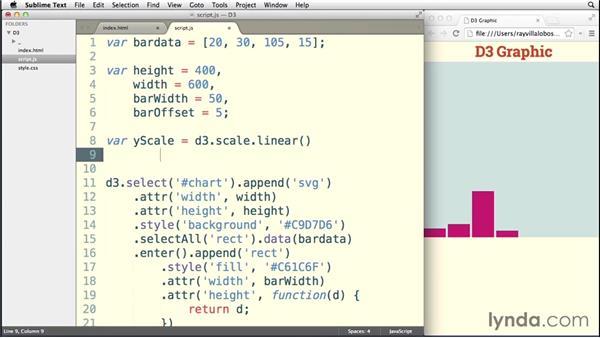 Adding quantitative scales: Data Visualization with D3.js