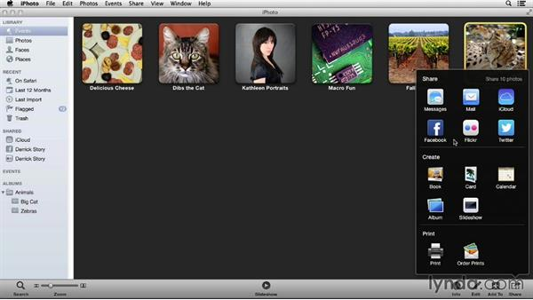 Using the Share menu: Up and Running with iPhoto