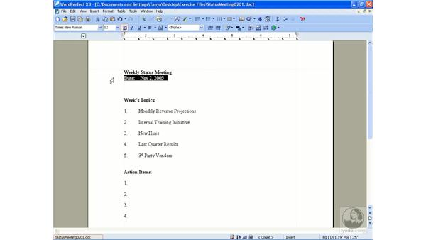 Formatting text: Getting Started With WordPerfect Office X3