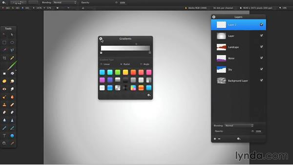 Designing with the Gradient tool: Up and Running with Pixelmator