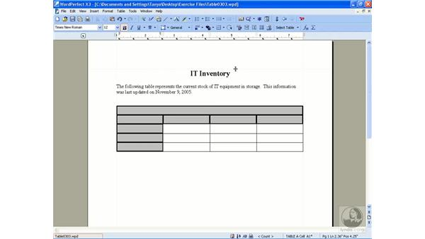 Creating tables: Getting Started With WordPerfect Office X3
