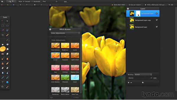 Saturate or desaturate areas of an image: Up and Running with Pixelmator