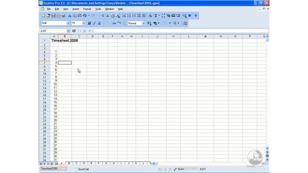 Filling cells quickly: Getting Started With WordPerfect Office X3