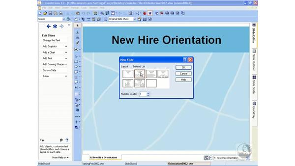 Adding new slides: Getting Started With WordPerfect Office X3