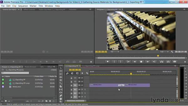 Exporting sources from Premiere Pro: Motion Graphics for Video Editors: Creating Backgrounds