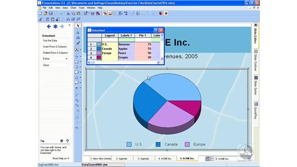 Adding data charts: Getting Started With WordPerfect Office X3