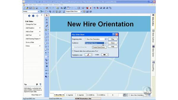 Playing a slideshow: Getting Started With WordPerfect Office X3