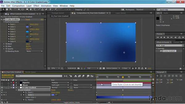 Using the 4-Color Gradient effect: Motion Graphics for Video Editors: Creating Backgrounds