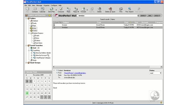 Searching mail: Getting Started With WordPerfect Office X3