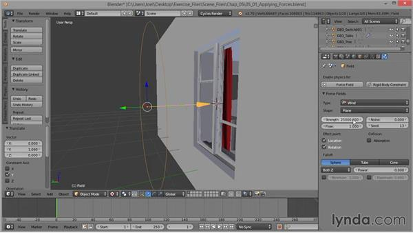 Applying force fields: Cloth Simulation in Blender