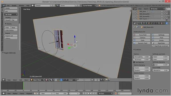 Using wind absorption: Cloth Simulation in Blender