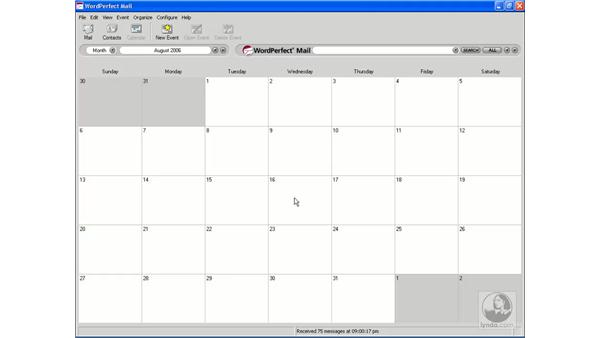 Viewing and navigating calendars: Getting Started With WordPerfect Office X3