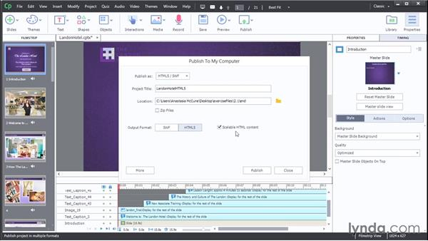 Publishing a nonresponsive project: Captivate Projects: Publishing for Mobile and the Web
