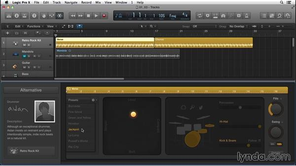 Strengthening musical ideas and creating a unique feel using Drummer: Songwriting in Logic Pro