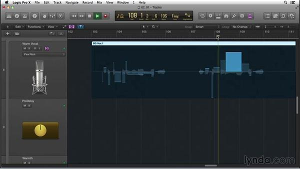 Preparing to do a rough mix with some final edits and vocal tuning: Songwriting in Logic Pro