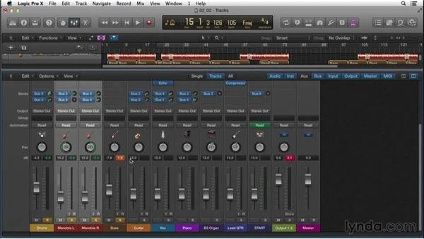 Balancing the rough mix with levels, panning, EQ, compression, and effects: Songwriting in Logic Pro