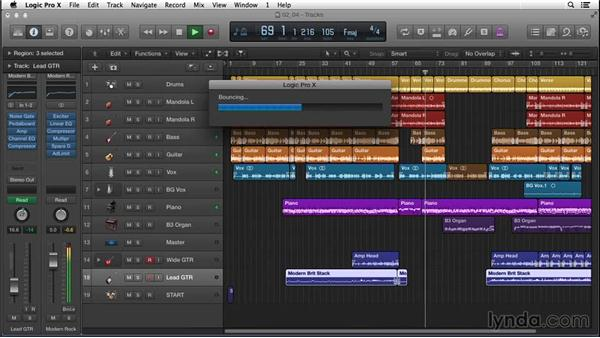 Listening in real time as you bounce down the rough mix: Songwriting in Logic Pro